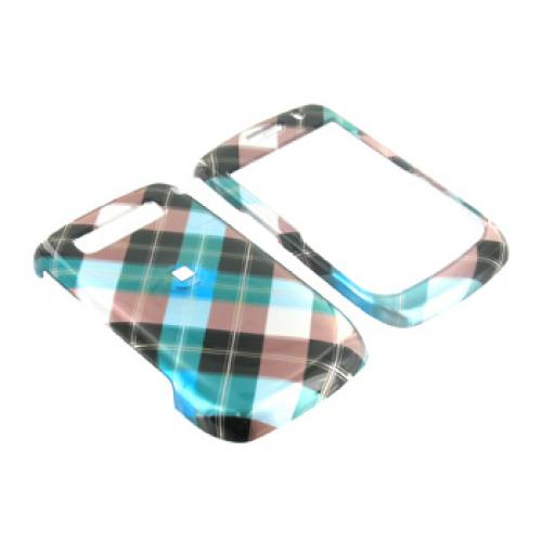 Blackberry Curve 8900 Hard Case - Checkered Diamonds of Blue, Green, Brown, Silver