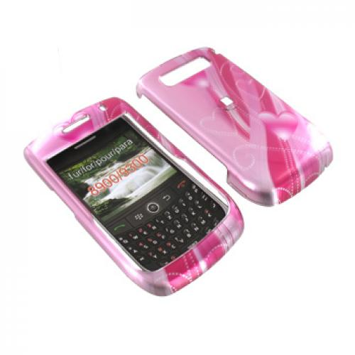 Blackberry Curve 8900 Hard Case - Pink Heart Trail