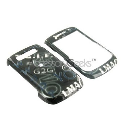 Blackberry Curve 8900 Hard Case - Silver Texting on Black