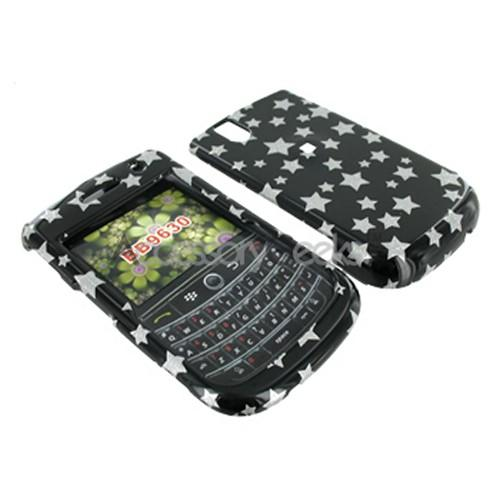Blackberry Bold 9650 & Tour 9630 Hard Case - Silver Stars on Black