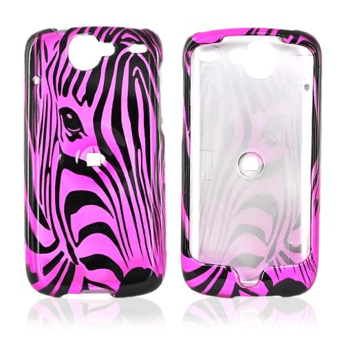 Google Nexus One Hard Case - Black Zebra Face Outline on Pink