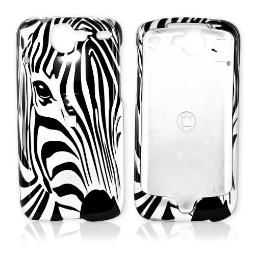 Google Nexus One Hard Case - Black Zebra Face Outline on Silver
