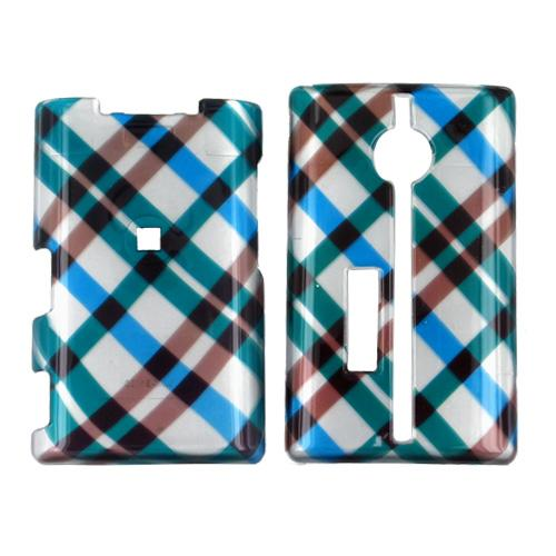 Kyocera Neo E1100 Hard Case - Checkered Diamonds of Blue, Green, Brown, Silver
