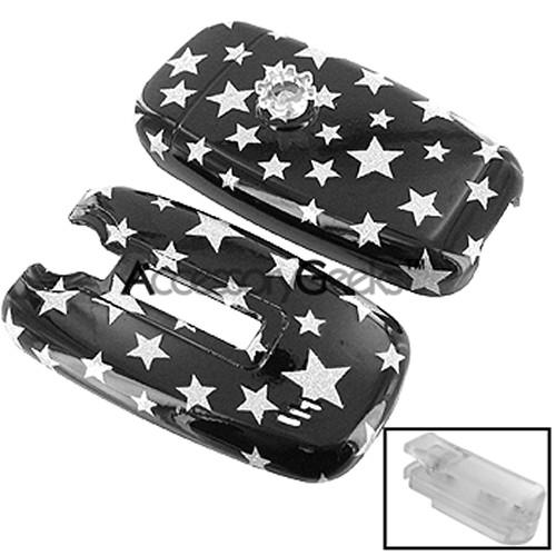 Kyocera K325 Protective Hard Case - Silver Stars on Black