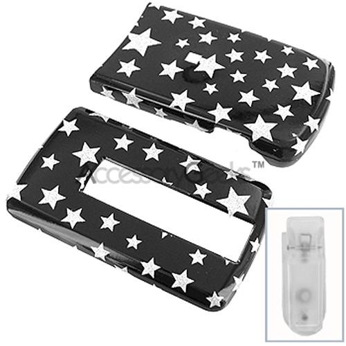 LG VX-8700 Protective Hard Case - Silver Stars on Black