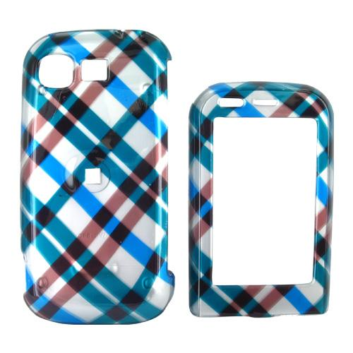 LG Tritan AX840 Hard Case - Checkered Plaid Pattern of Blue, Green, Brown, Silver