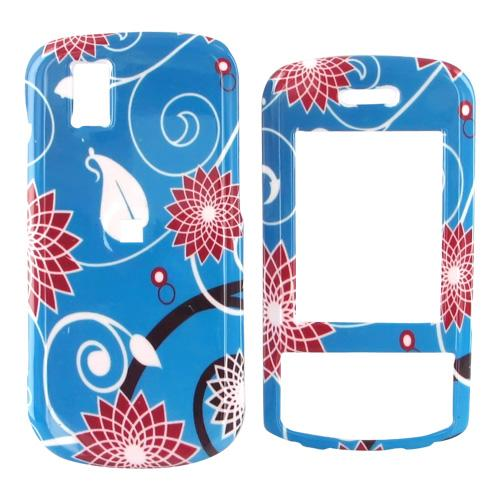LG Shine II GD710 Hard Case - Red Flowers on Blue
