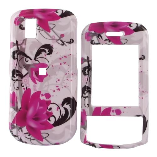 LG Shine II GD710 Hard Case - Pink Flowers on White