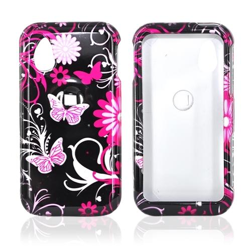 LG Arena GT950 Hard Case - Pink Flowers and Butterflies on Black