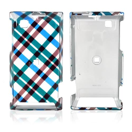 Motorola Devour A555 Hard Back Cover Case - Checkered Design of Blue, Green, Brown, Silver