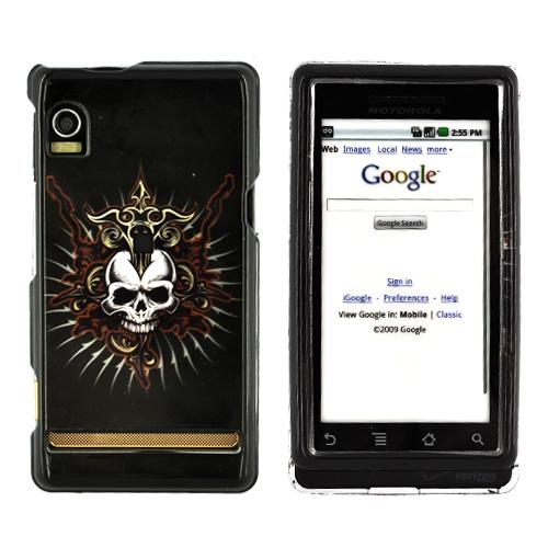 Motorola Droid A855 / Milestone Hard Case - Cross Skull on Black