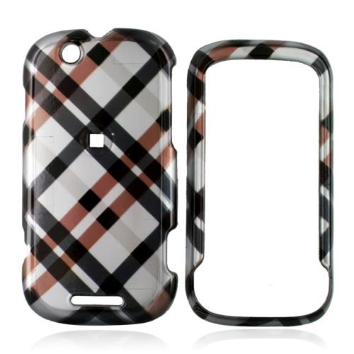 Motorola CLIQ Hard Case - Checkered Pattern of Navy, Brown on Silver