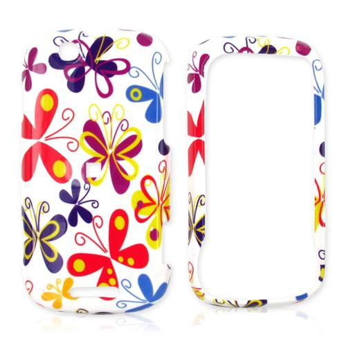 Motorola CLIQ Hard Case - Colorful Butterflies on White