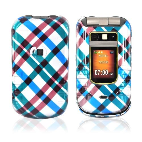 Motorola Brute i680 Hard Case - Checkered Design of Blue, Brown, Green