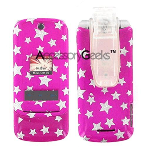 Motorola KRZR K1m Protective Hard Case - Silver Star on Pink