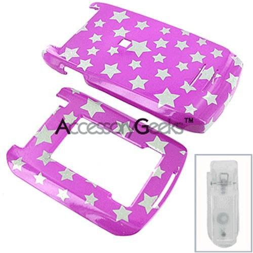 Motorola MAXX VE Protective Hard Case - Silver Stars on Purple