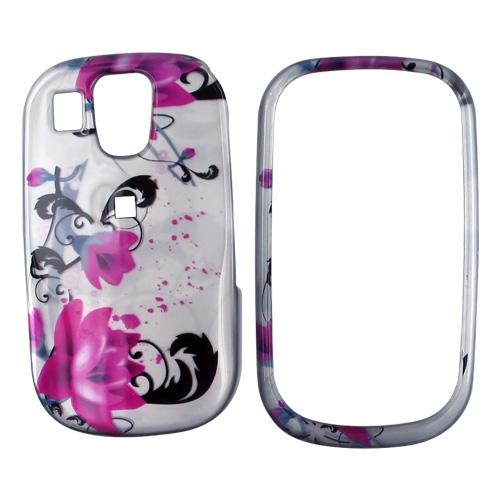 Samsung Flight A797 Hard Case - Pink Flowers on Silver
