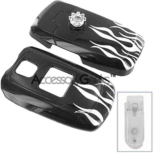 Samsung A870 Protective Hard Case w/Belt Clip - Silver Flames on Black