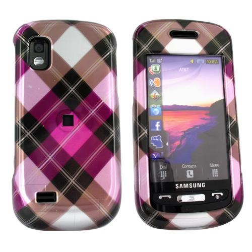 Samsung Solstice A887 Hard Case - Checkered Pattern of Hot Pink, Silver, Brown