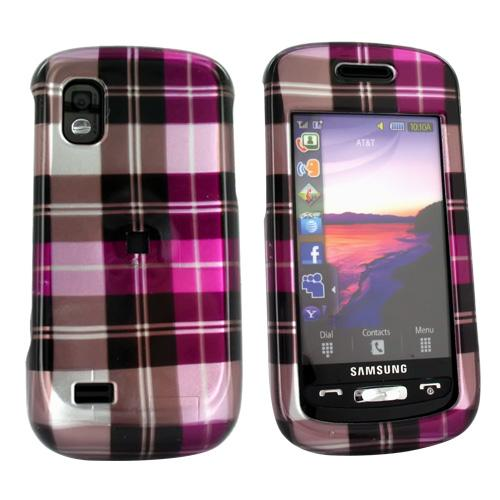 Samsung Solstice A887 Hard Case - Plaid Pattern of Hot Pink, Silver, Brown