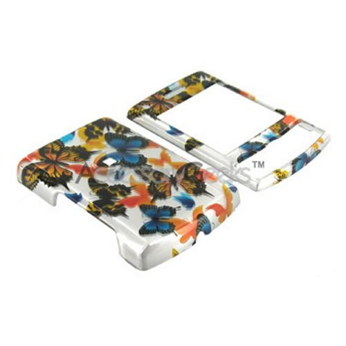 Samsung Propel Pro i627 Hard Case - Yellow, Orange, Blue Butterflies on Silver