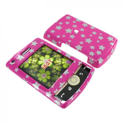 Samsung Propel Pro i627 Hard Case - Silver Stars on Pink