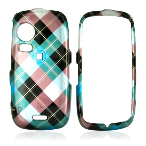 Samsung Instinct HD M850 Hard Case - Checkered Diamonds of Blue, Green, Brown, Silver