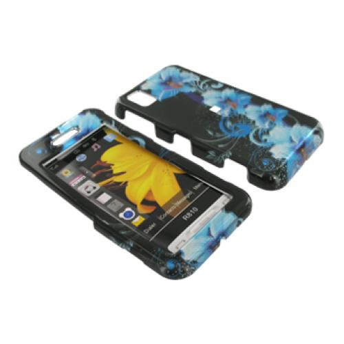 Samsung Finesse R810 Hard Case - Blue Flowers on Black