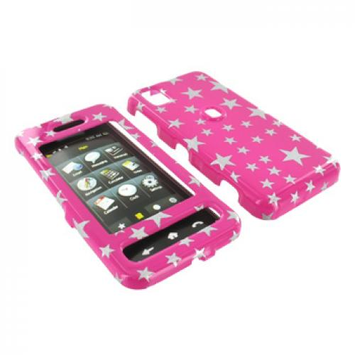 Samsung Finesse R810 Hard Case - Silver Stars on Pink