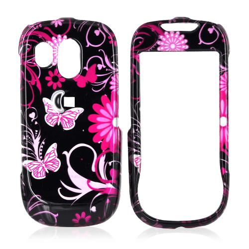 Samsung Caliber R860/R850 Hard Case - Pink Flowers and Butterflies on Black