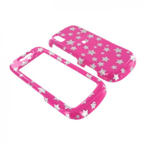 Samsung Instinct S30 Hard Case - Silver Stars on Pink
