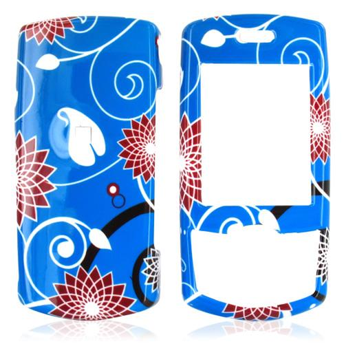Samsung T659 Hard Case - Red Flower on Blue