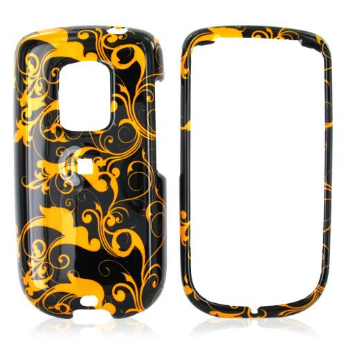 Sprint HTC Hero Hard Case - Brown Floral Swirls Design on Black