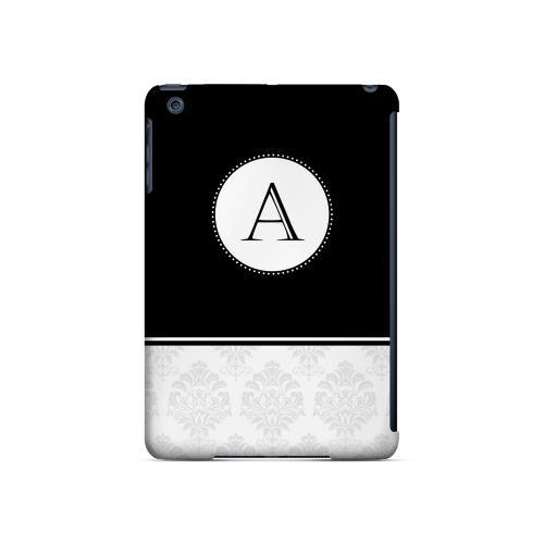 Black A w/ White Damask Design - Geeks Designer Line Monogram Series Hard Case for Apple iPad Mini