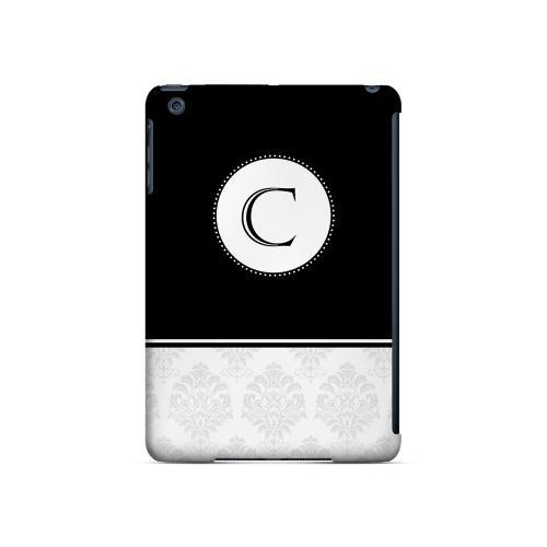 Black C w/ White Damask Design - Geeks Designer Line Monogram Series Hard Case for Apple iPad Mini