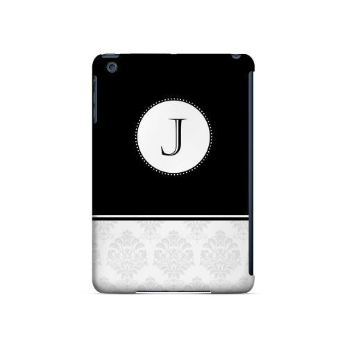 Black J w/ White Damask Design - Geeks Designer Line Monogram Series Hard Case for Apple iPad Mini