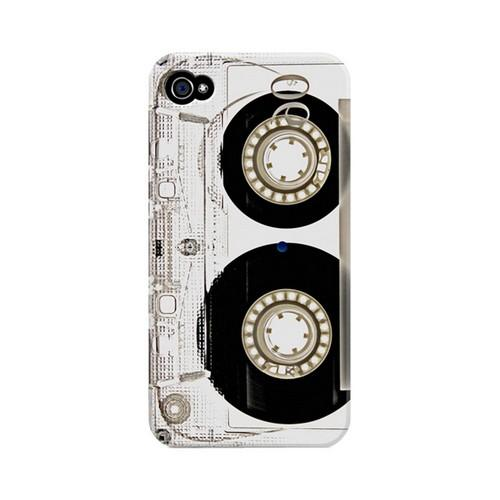 Geeks Designer Line (GDL) Retro Series Apple iPhone 4/4S Matte Hard Back Cover - Clear Cassette