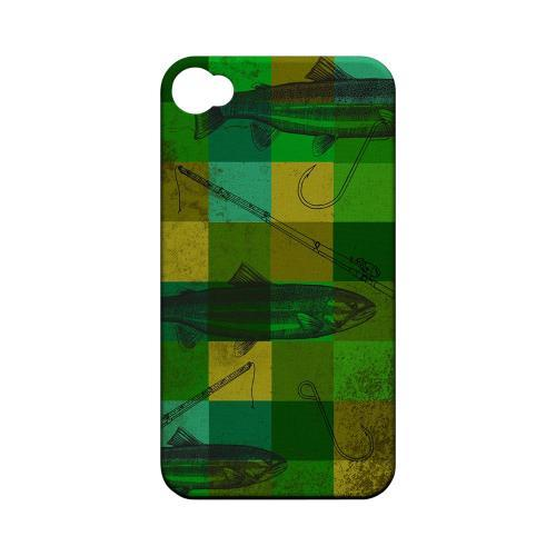 Geeks Designer Line (GDL) Fish Series Apple iPhone 4/4S Matte Hard Back Cover - Green Plaid Trout Design