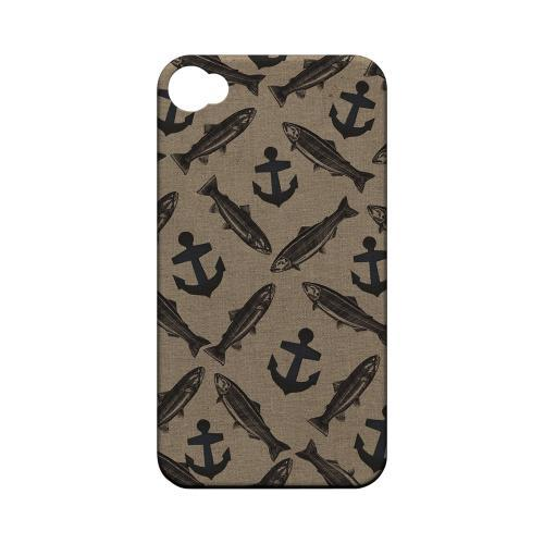 Geeks Designer Line (GDL) Fish Series Apple iPhone 4/4S Matte Hard Back Cover - Vintage Salmon/Trout/Anchor Design