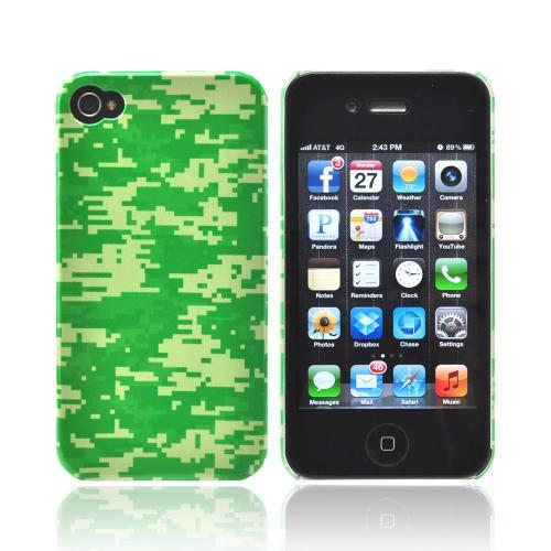 Geeks Designer Line (GDL) Apple iPhone 4/4S Matte Hard Back Cover - Green Digital Camouflage