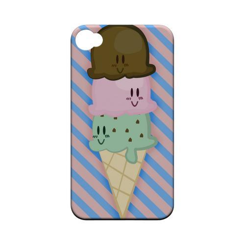 Geeks Designer Line (GDL) Apple iPhone 4/4S Matte Hard Back Cover - Triple Scoop Ice Cream Cone