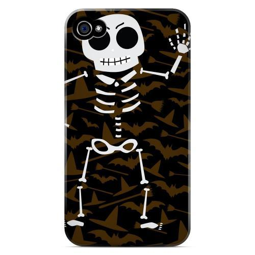 Geeks Designer Line (GDL) Apple iPhone 4/4S Matte Hard Back Cover - Dancing Skeleton on Witch Hat/Broom/Bat