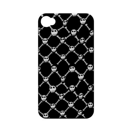 Geeks Designer Line (GDL) Apple iPhone 4/4S Matte Hard Back Cover - White Skull & Crossbones on Black