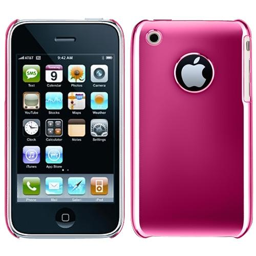 Premium Apple iPhone 3Gs 3G Hard Back Cover Case - Solid Chrome Hot Pink