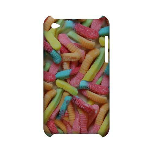 Multi-Colored Gummy Worms Geeks Designer Line Candy Series Slim Hard Back Cover for Apple iPod Touch 4
