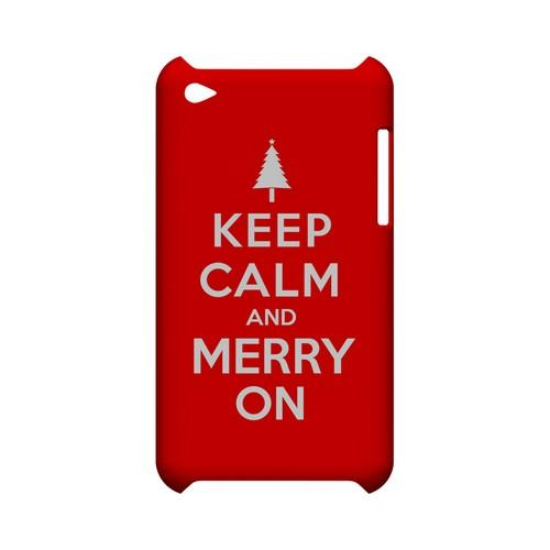 Red Merry On Geeks Designer Line Keep Calm Series Slim Hard Case for Apple iPod Touch 4