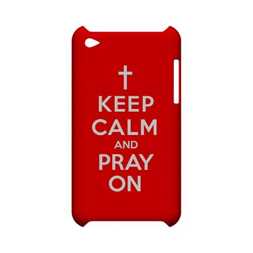 Red Pray On Geeks Designer Line Keep Calm Series Slim Hard Case for Apple iPod Touch 4
