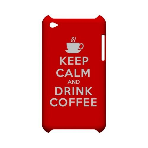 Red Drink Coffee Geeks Designer Line Keep Calm Series Slim Hard Case for Apple iPod Touch 4