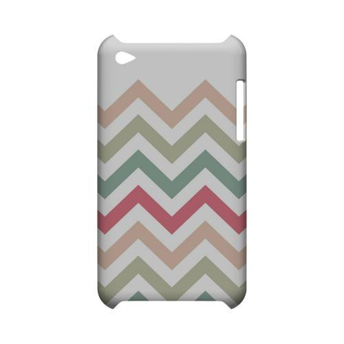 Green/ Red on White Geeks Designer Line Zig Zag Series Slim Hard Case for Apple iPod Touch 4