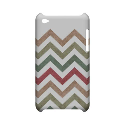 Grungy Green/ Red on White Geeks Designer Line Zig Zag Series Slim Hard Case for Apple iPod Touch 4